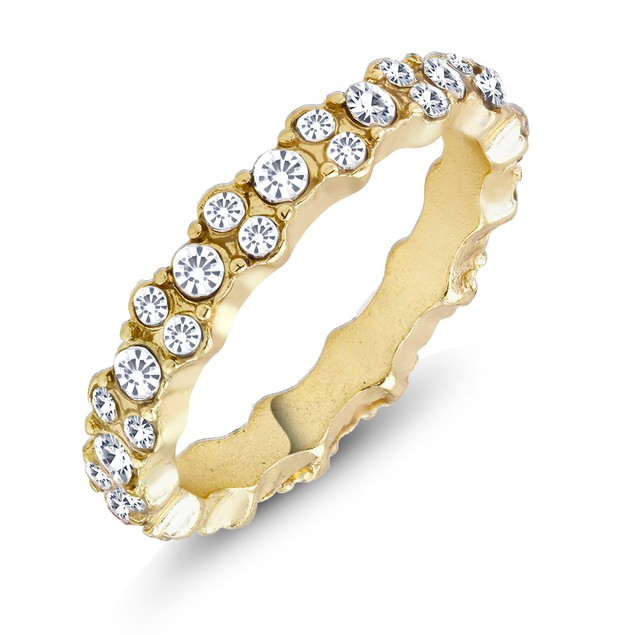 Sprinkled Cubic Zirconia Eternity Band Ring - 3 Colors