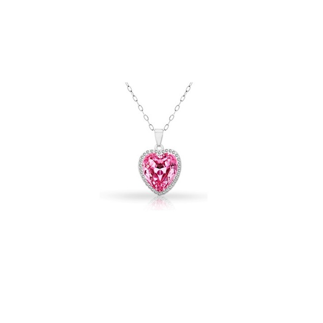 18KT White Gold Plated Halo Pink Topaz Pear Pendant in Sterling Silver