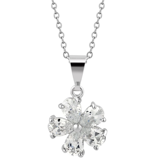 White Gold Plated Flower Necklace