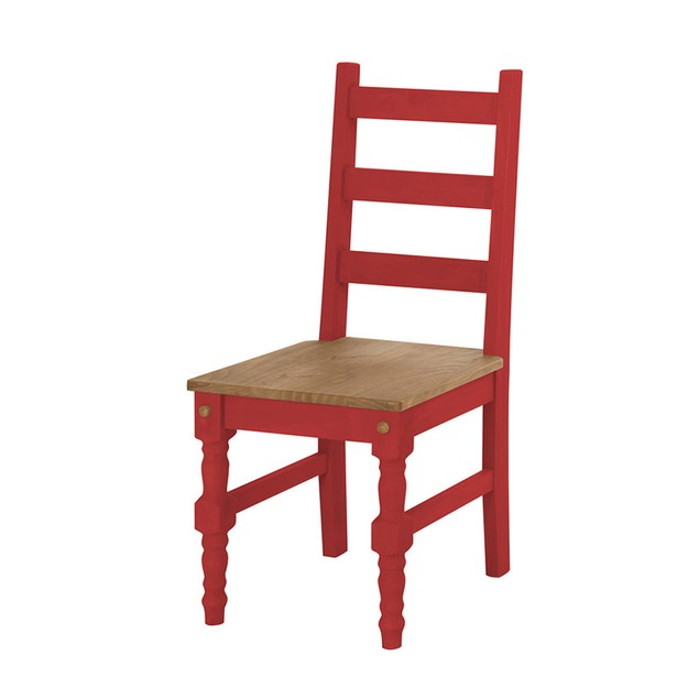 Jay 2- Piece Solid Wood Dining Chair in Red Wash
