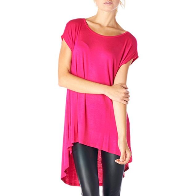 Ladies Rayon Spandex High & Low Sleeveless Tunic