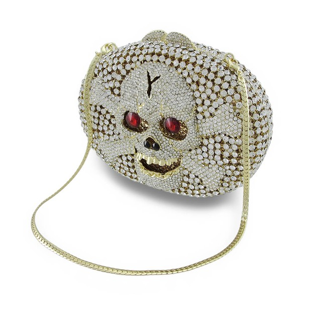 Rhinestone Covered Skull And Crossbones Clutch Womens Clutch Handbags