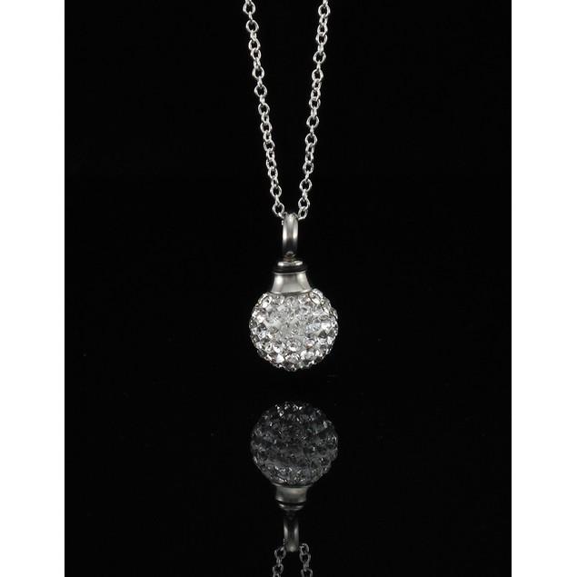 Rhinestone Encrusted Ball Vial Keepsake Necklace Womens Pendant Necklaces