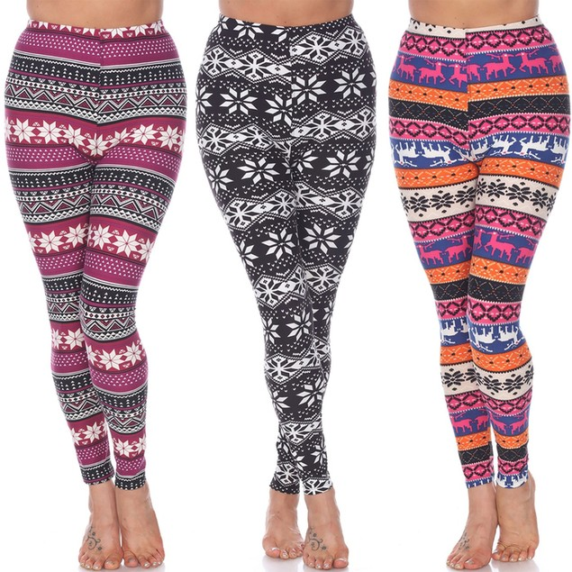 3-Pack: Super Soft Holiday Leggings - 18 Prints (S-3X)