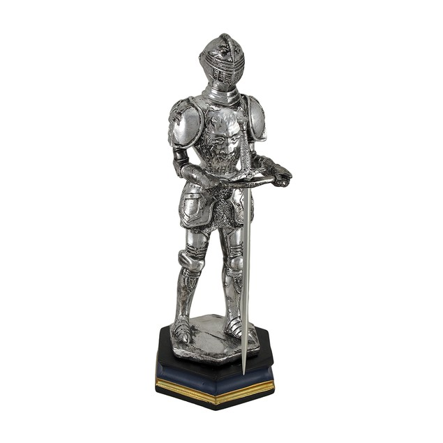 Medieval Knight In Armour W/Sword Antique Silver Statues