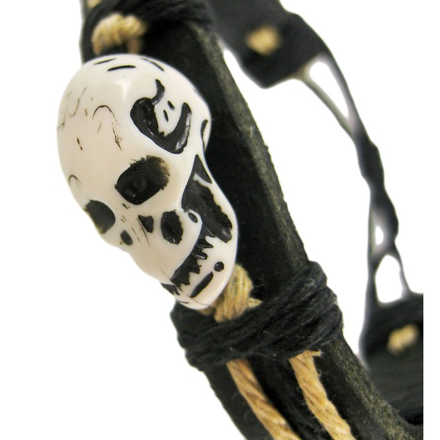 Black / Tan Leather Hemp Carved Skull Cord Mens Leather Bracelets