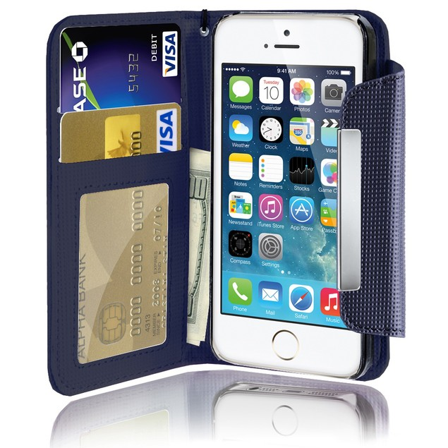 Leather Wallet Case With Clip for Apple iPhone 5C