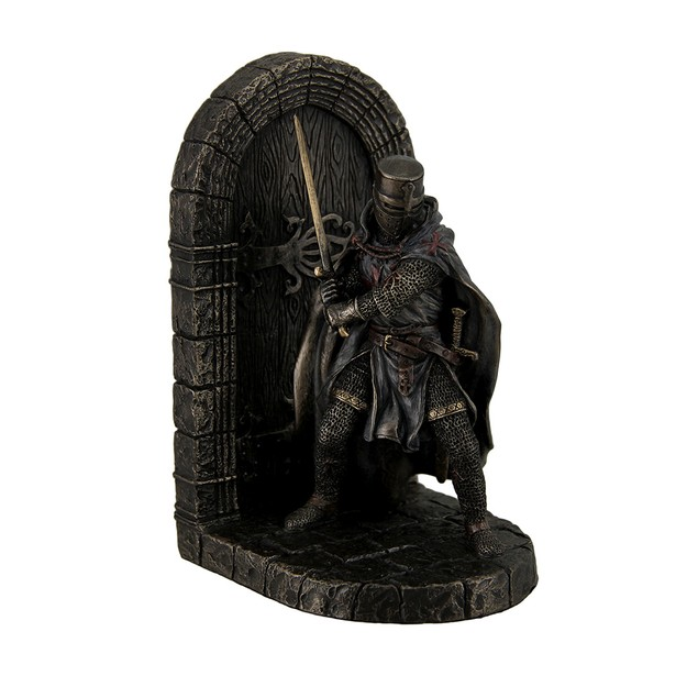 Maltese Crusader In Armor Guarding Door Holding Decorative Bookends