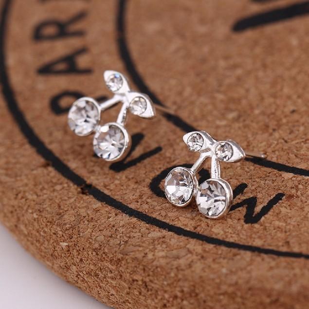 Silver Tone Cherry Shaped Earrings
