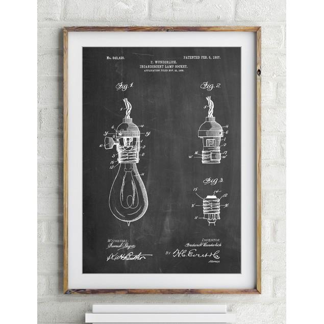 Incandescent Lamp Socket Patent Poster