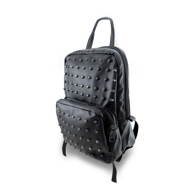 Black Textured Vinyl Metal Stud Covered Backpack Womens Backpack Purses