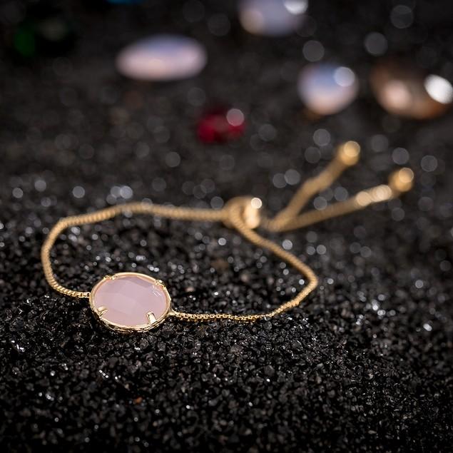 Gold Plated Circular Pink Gem Bracelet