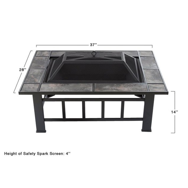 Pure Garden 37 inch Rectangular Tile Fire Pit with Cover - Black