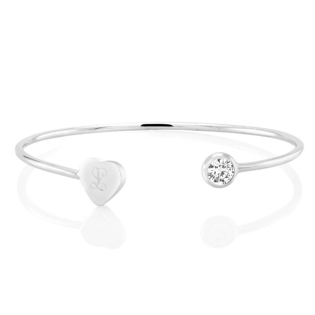 Personalized Cubic Zirconia Double Cuff Bangle - 2 Colors