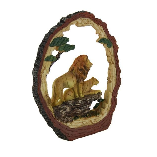 Tree Trunk Vistas Lion Safari Decorative Carving Statues