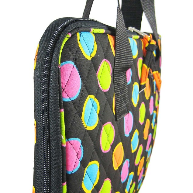 Quilted Neon Polka Dot Print Laptop Sleeve Carry Laptop Computer Bags And