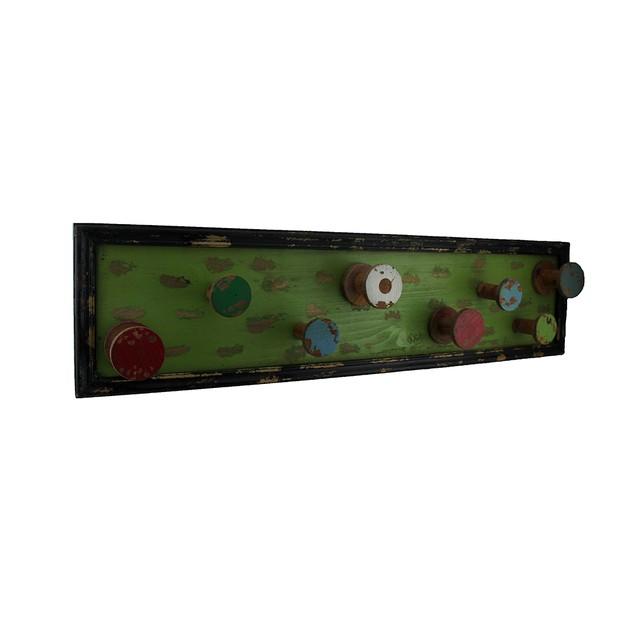 Colorful 8 Bobbin Vintage Finish Decorative Wooden Decorative Wall Hooks