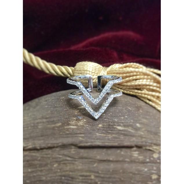 CZ Crystal Double Chevron Ring