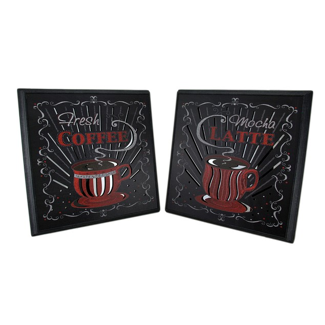 2 Pc. Red/Black Coffee And Latte Wall Hanging Set Prints