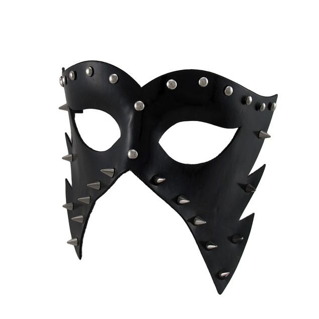 Black Vinyl Spiked And Studded Half-Face Mens Costume Masks