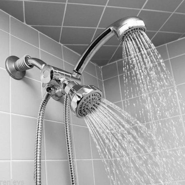Chrome-Finish Massaging Double Showerhead with Hose