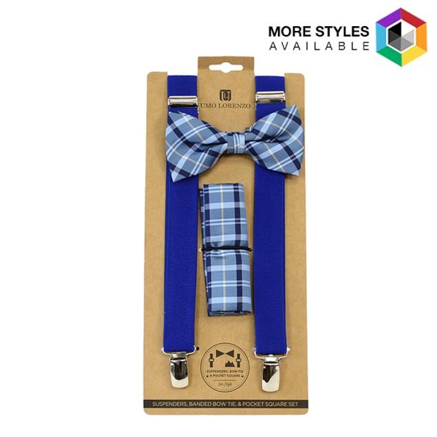 Men's Blue Clip-on Suspenders, Bow Tie and Hanky Set