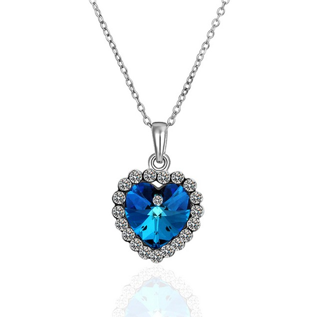 Dipped Heart Blue Necklace
