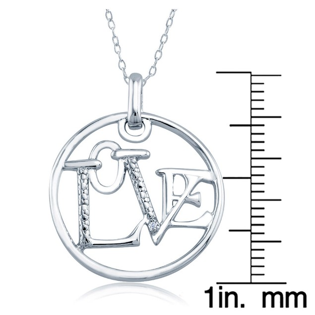 1/10cttw Diamond Accent Round Love Necklace