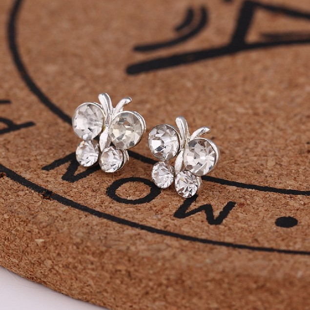 Silver Tone Butterfly Shaped Earrings