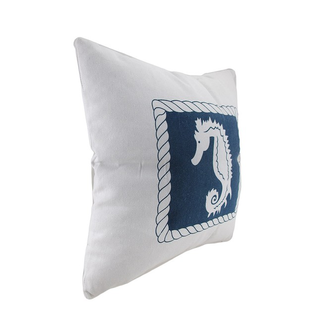 White And Blue Seahorse Decorative Canvas Throw Throw Pillows