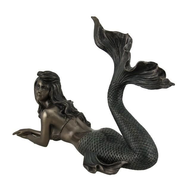 Lounging Mermaid Of Gazing Gulf Lustrous Bronze Statues