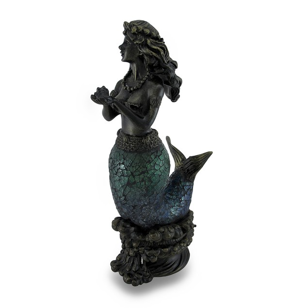 Green And Blue Crackled Glass Curvy Mermaid Accent Lamps
