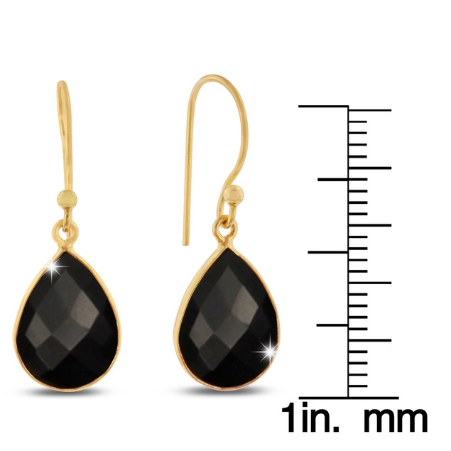 Gold Tone 12 Carat Black Onyx Pear Shape Earrings