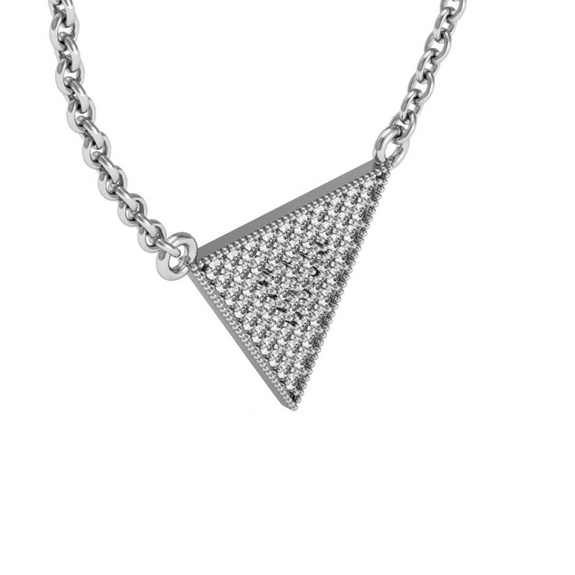 Sterling Silver 1/3 Carat Diamond Triangle Necklace