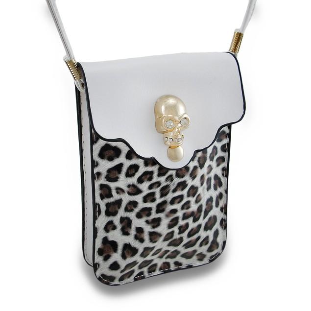 Leopard Print Rhinestone Skull White Cell Phone Womens Cross Body Bags