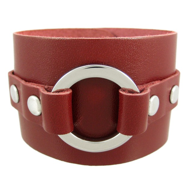 Brown Leather Chrome O Ring Wristband Bracelet Mens Leather Bracelets