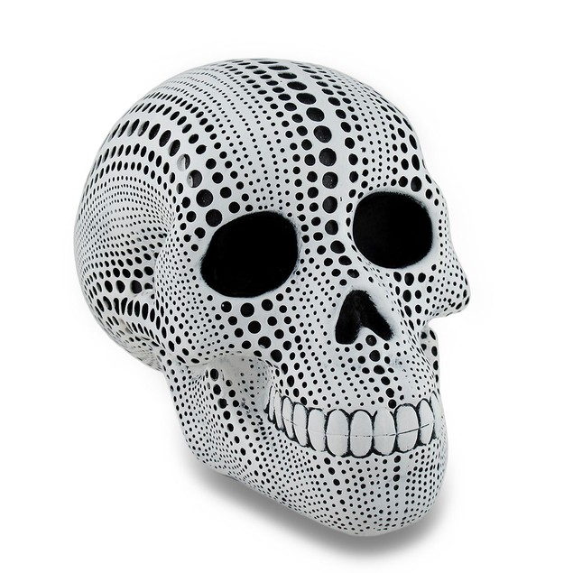 Set Of 3 White And Black Dotted Human Skull Head Sculptures