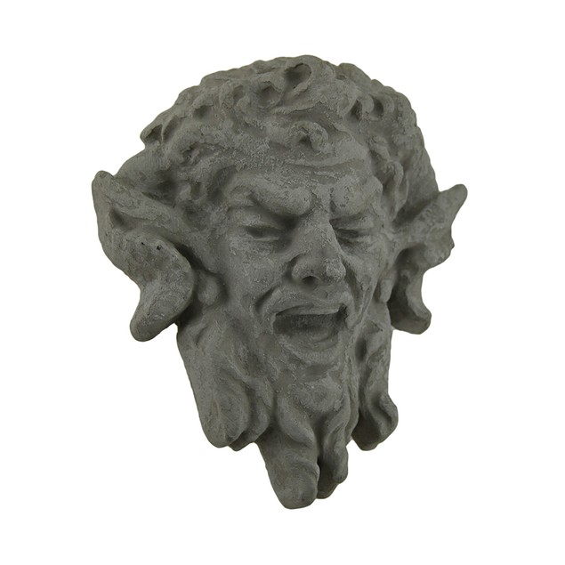 Laughing Satyr Head Decorative Grey Concrete Wall Wall Sculptures