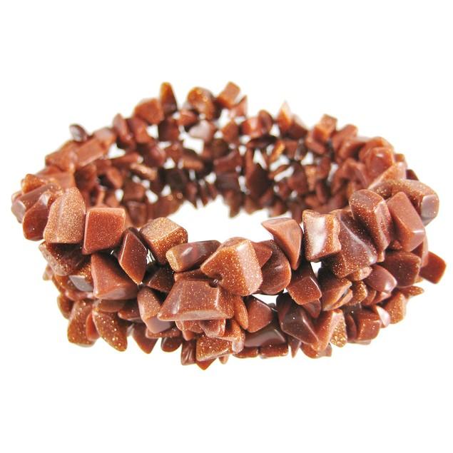 Multi-Strand Goldstone Chip Stretch Bracelet Womens Stretch Bracelets