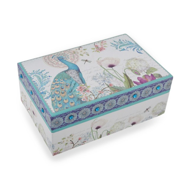 Sparkling Peacock Flower Garden Mirrored Jewelry Decorative Boxes