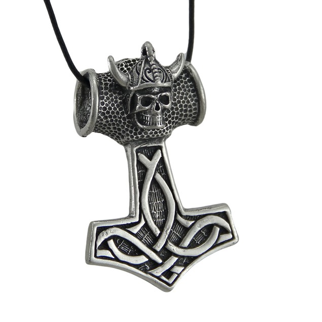 Large Pewter Viking Thor's Hammer Slide Pendant W/ Mens Pendant Necklaces
