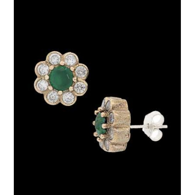 Ottanic Earings With Cz Stones Crafted From .925 Sterling Silver-Green