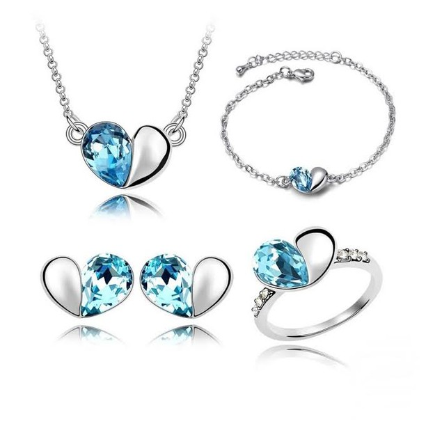 Crystal Love Heart Shaped 4pc Jewelry Set