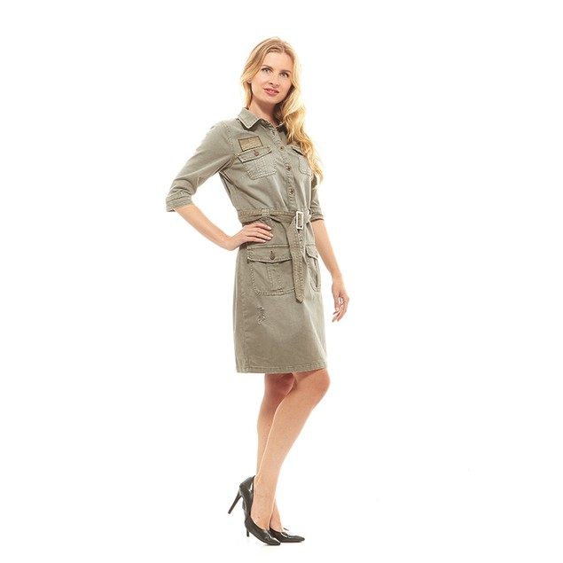 Red Jeans Women's Military Army Fatigue Camo Dress