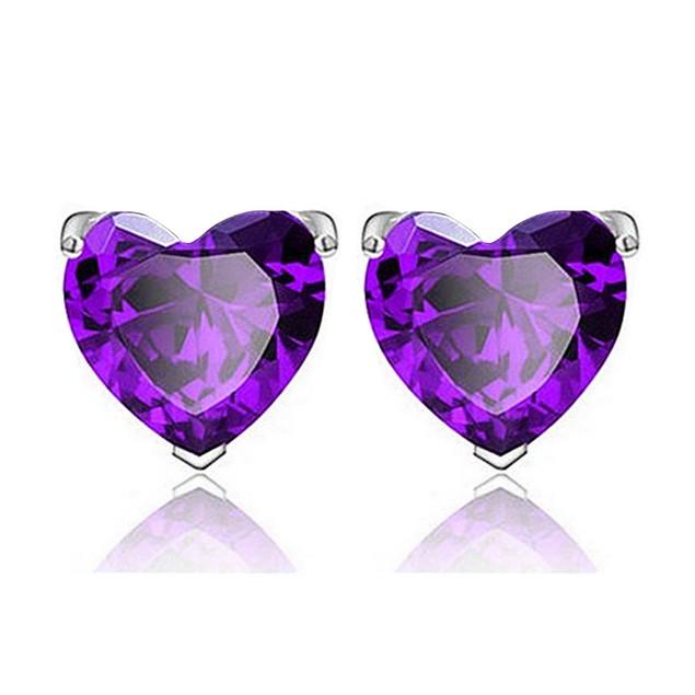 Sterling Silver Heart-Cut Gemstone Earrings - 3 Colors