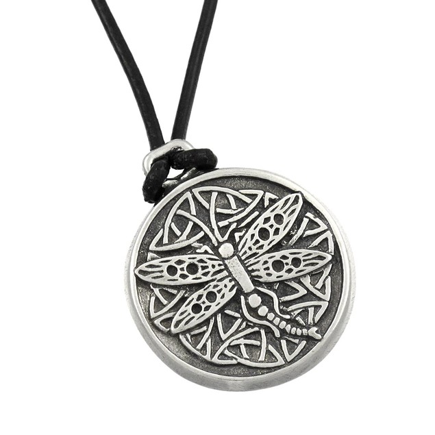 Celtic Wisdom Dragonfly Pewter Pendant 16 In. Cord Womens Pendant Necklaces