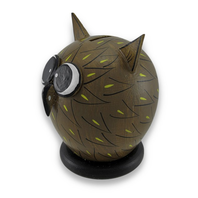 Whimsical Wooden Wide Eyed Owl Coin Bank 7.25 In. Toy Banks