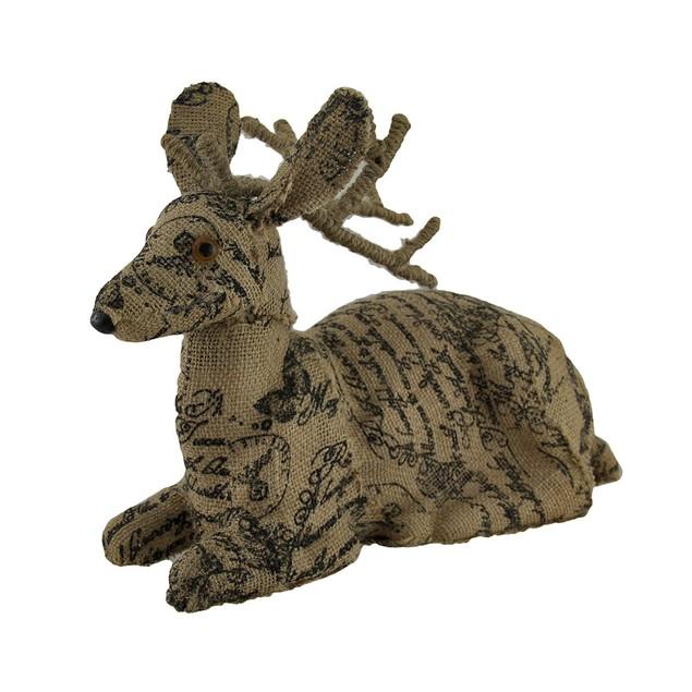 Postcard Print Brown Burlap Deer Statue Statues