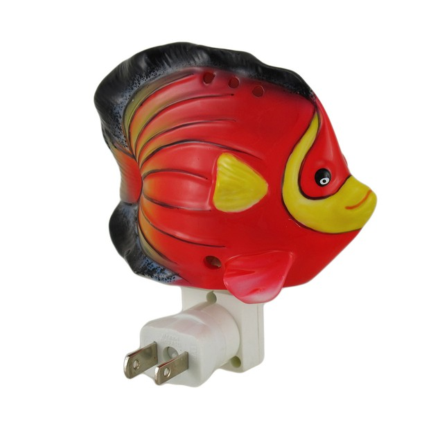 Red Tropical Fish Shaped Porcelain Night Light Childrens Night Lights
