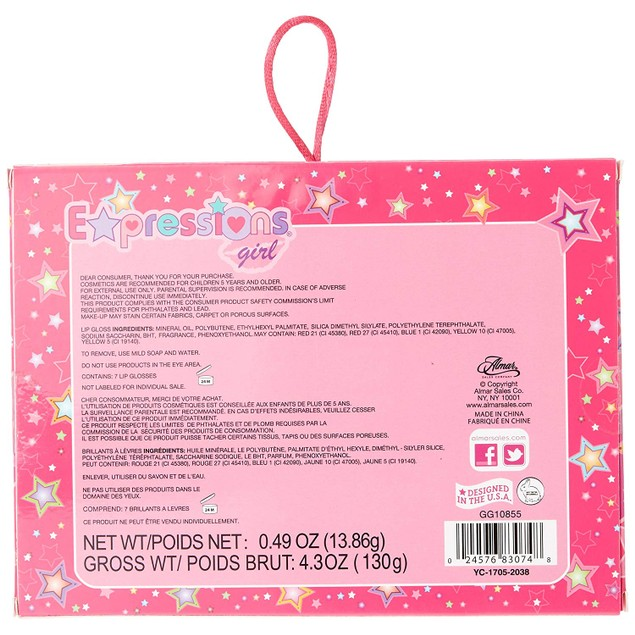 Expressions Girl / 7-piece Flavored Lip Gloss Set 0.7 oz each